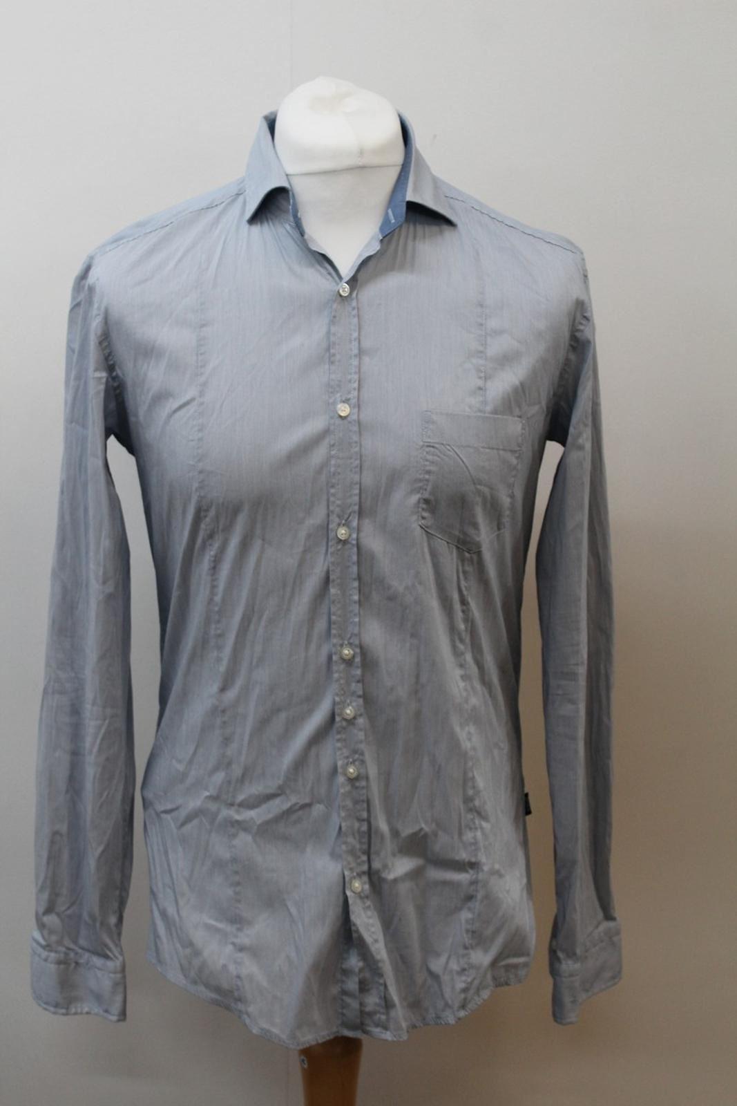 Hugo-Boss-Para-Hombre-Azul-Mezcla-De-Algodon-Manga-Larga-a-Rayas-Calce-Ajustado-Camisa-Informal-M
