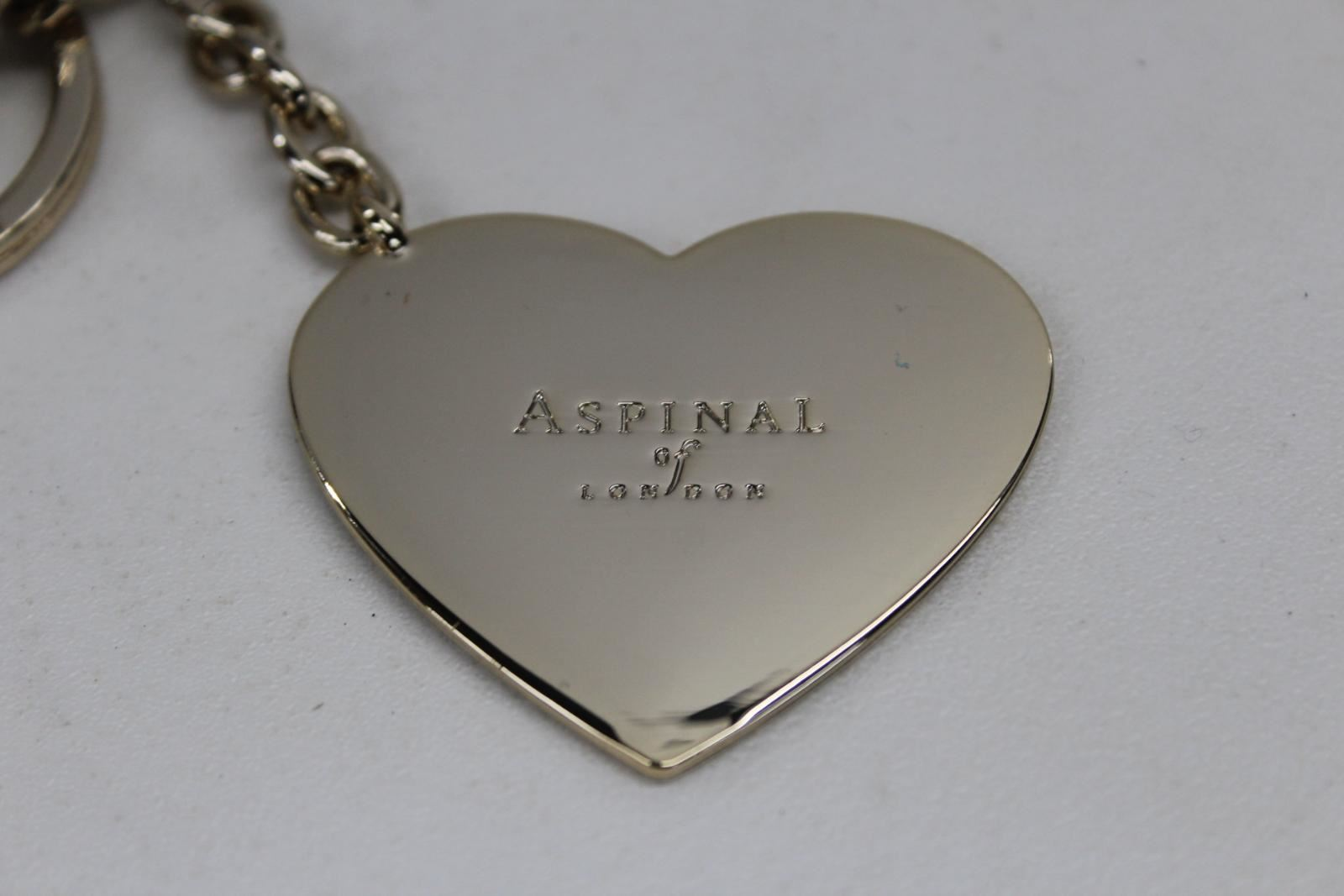ASPINAL-OF-LONDON-Small-Gold-Tone-Date-Engraved-Heart-Shaped-Key-Ring-NEW