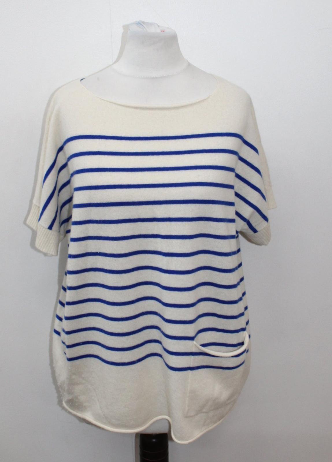 LOMA LONDON Ladies Ivory & Blau Cashmere Short Sleeve Striped Top Größe S