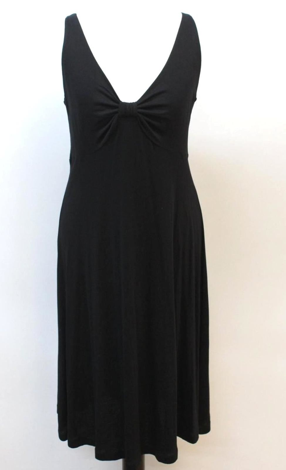 THE-WHITE-COMPANY-Ladies-Black-Sleeveless-V-Neck-Knot-Shift-Dress-Size-S