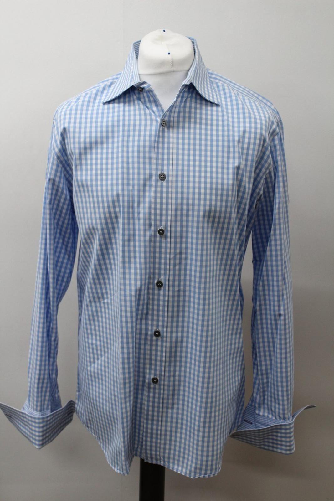 Paul-Smith-Para-Hombre-Camisa-Azul-Blanco-Algodon-comprobado-Formal-Cuello-16-5-034-42cm