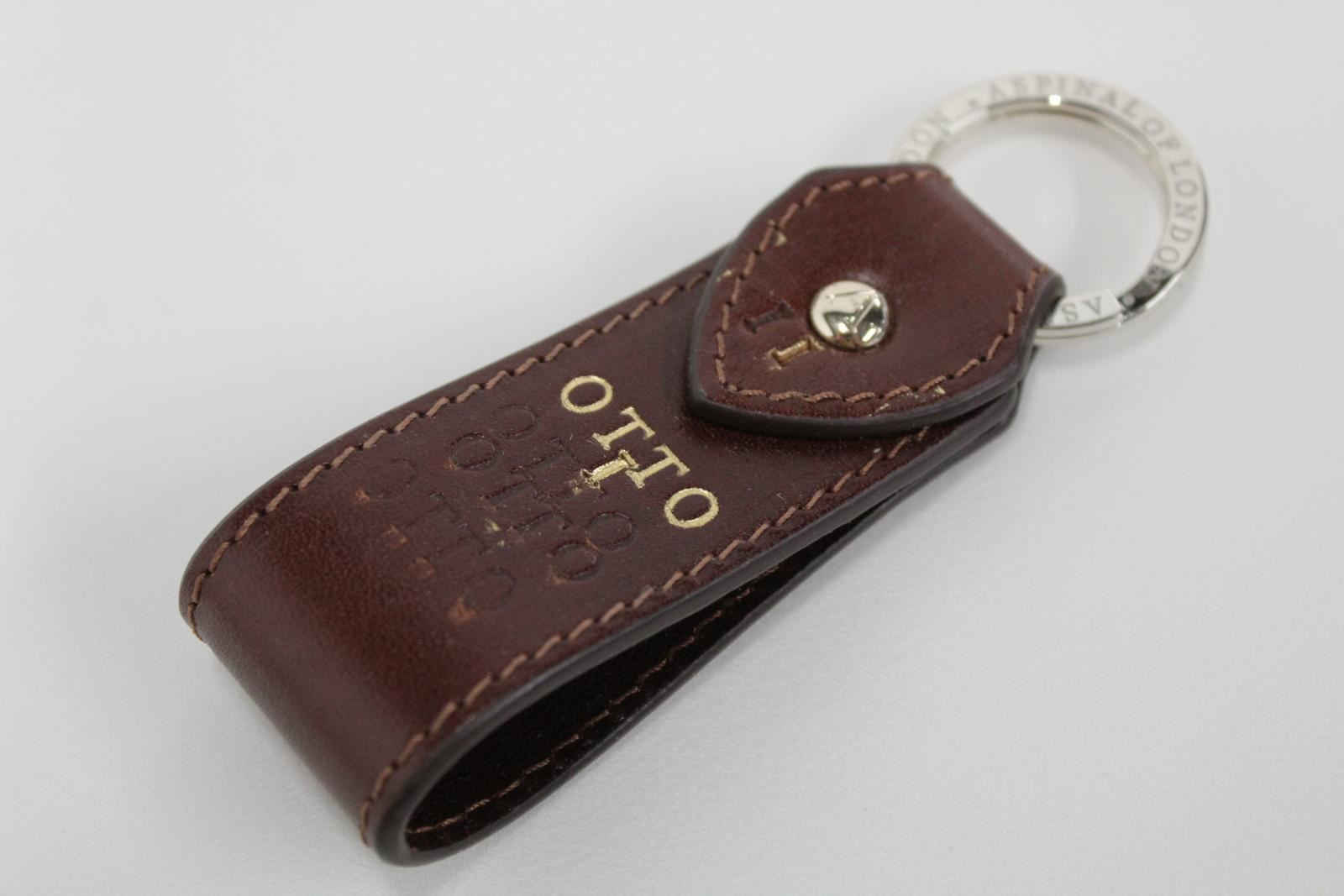 ASPINAL-OF-LONDON-Leather-Chocolate-Brown-Pre-Personalised-Keyring-Fob-NEW