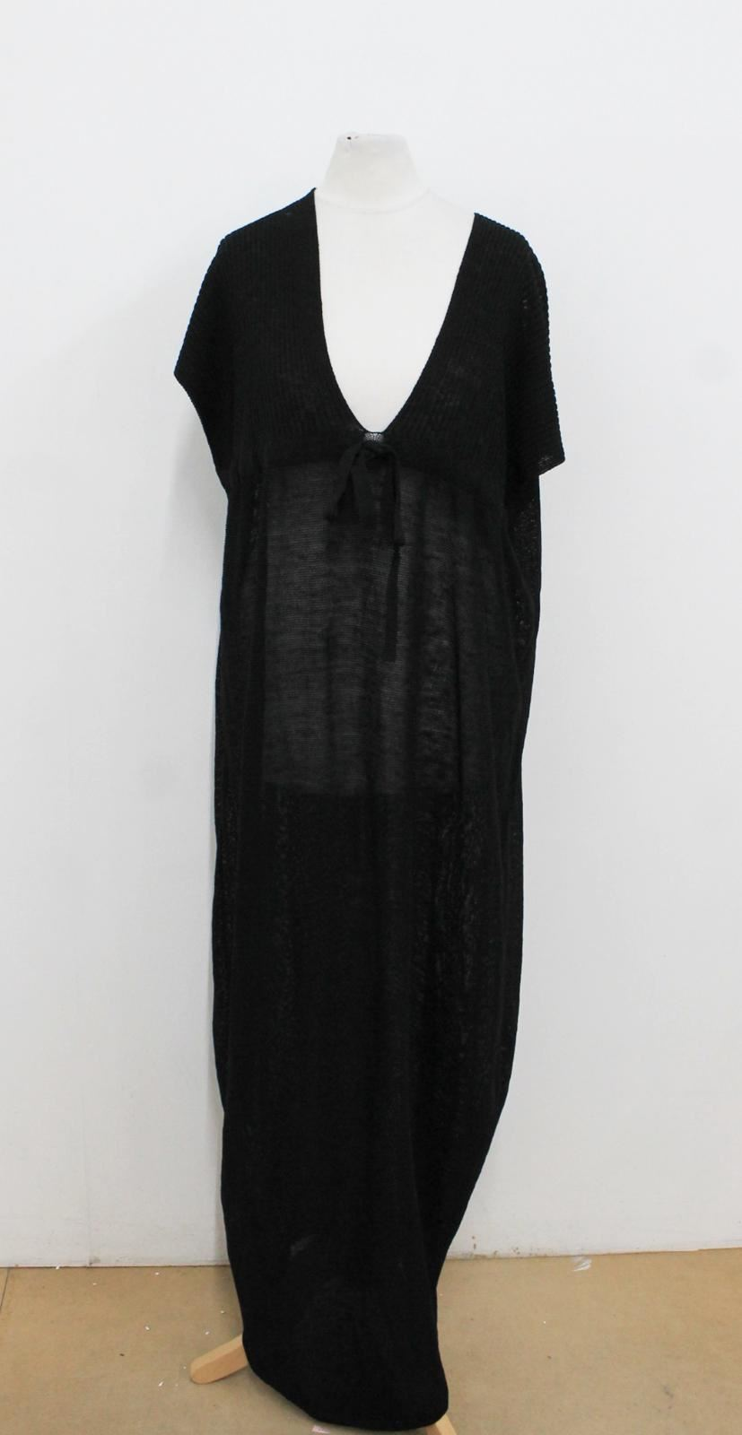 BNWT SARAH PACINI Ladies schwarz Knitted Short Sleeved V-Neck Maxi Dress One Größe