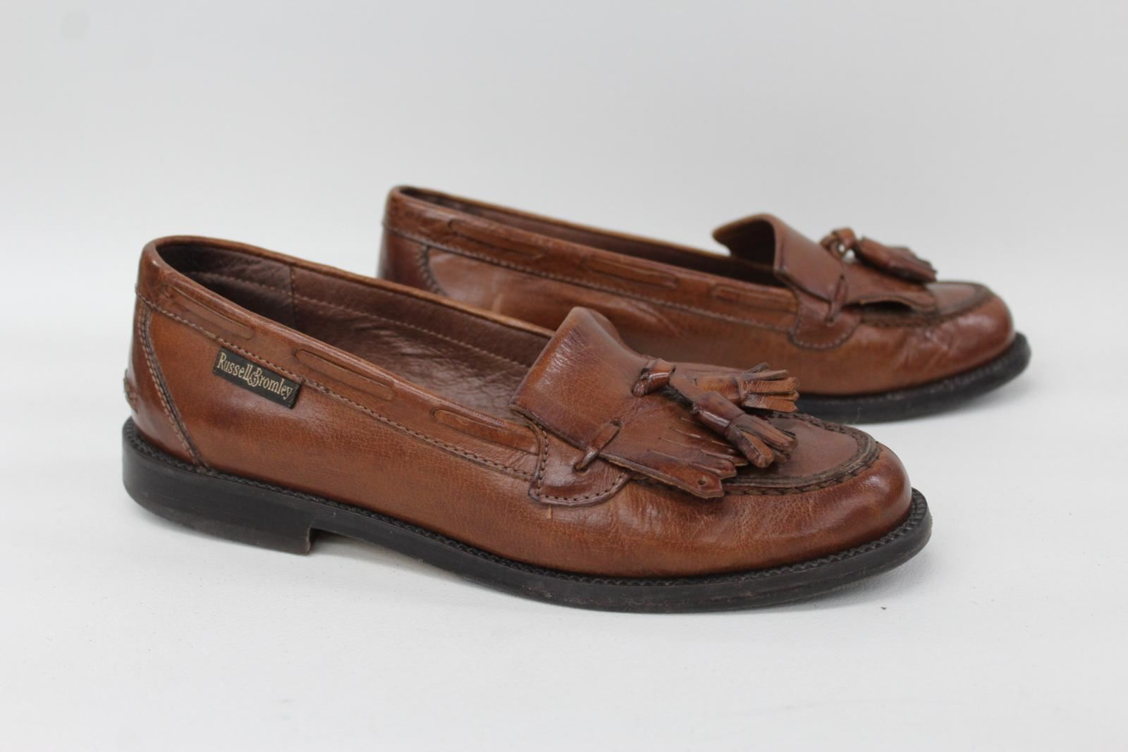 RUSSELL-amp-BROMLEY-Ladies-Brown-Leather-Kiltie-Slip-On-Loafer-Shoes-UK3-EU36