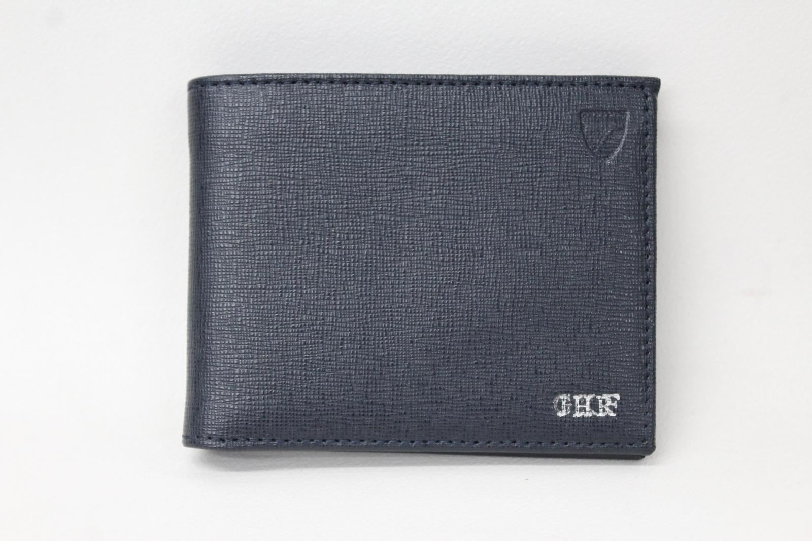 ASPINAL-Men-039-s-Navy-Blue-Saffiano-Leather-Embossed-Landscape-Bifold-Wallet-NEW