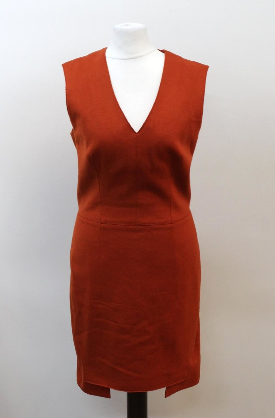 FARHI-NICOLE-FARHI-Ladies-Orange-Wool-Blend-Sleeveless-V-Neck-Dress-UK10-EU38