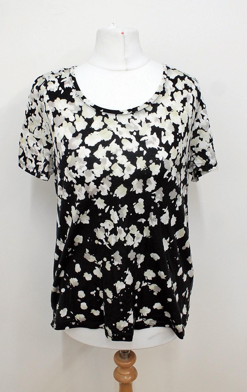 GERARD-DAREL-Ladies-Black-White-Floral-Print-Short-Sleeved-Top-Size-2-UK8