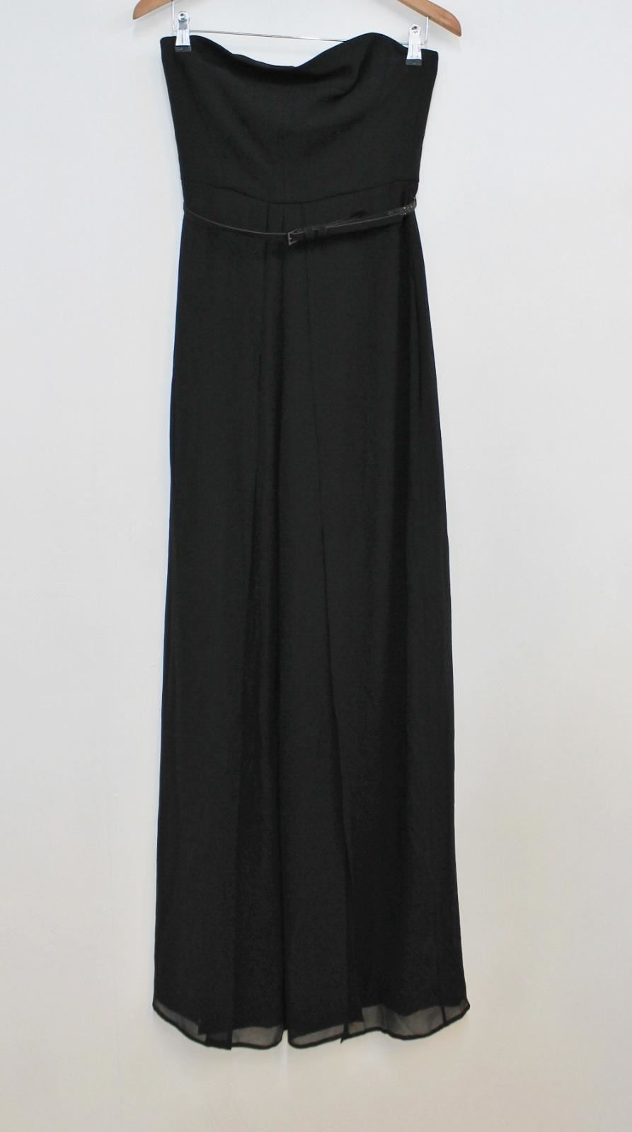 Bnwt Halston Heritage Ladies Black Bandeau Neckline Slit Jumpsuit Us4 Uk8