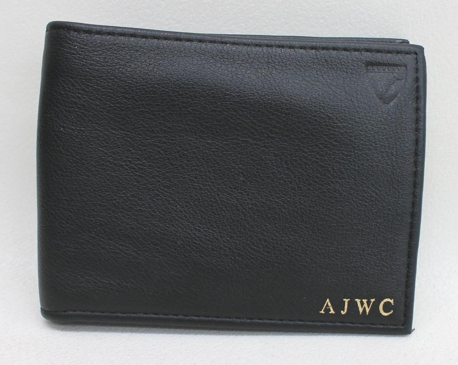 2019 Mode Aspinal Of London Men's Black 8 Card Billfold Leather Wallet Embossed Ajwc New KöStlich Im Geschmack