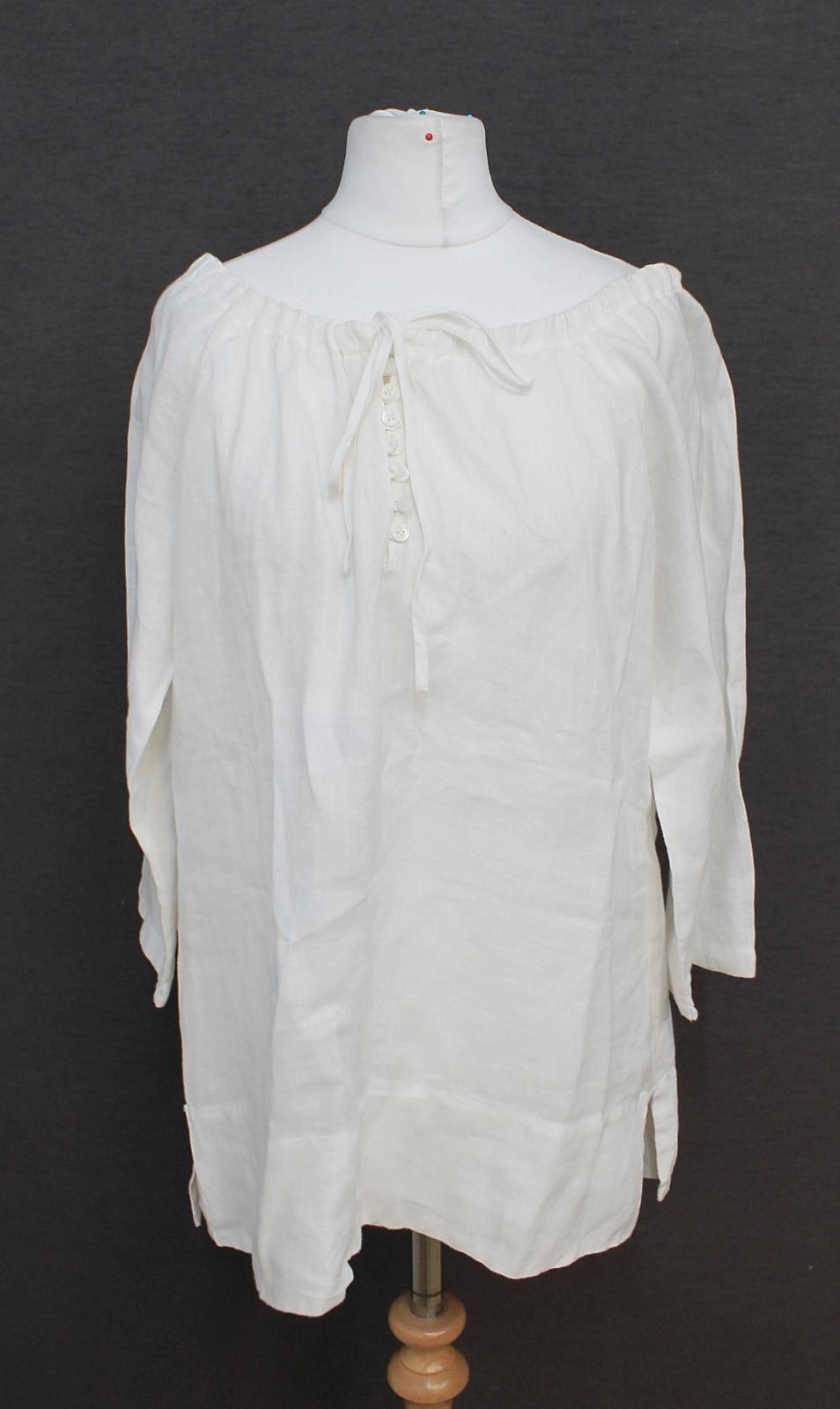 L-K-BENNETT-Ladies-Ivory-Linen-Long-Sleeved-Boat-Neck-Blouse-Size-Approx-M