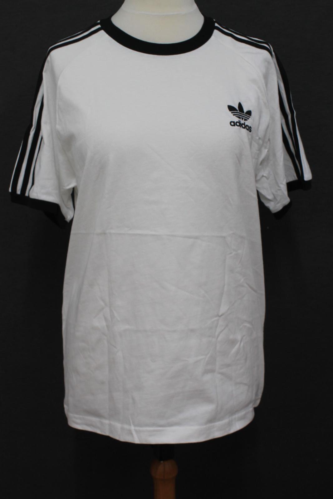 ADIDAS-Men-039-s-White-Original-3-Stripes-Short-Sleeve-Crew-Neck-T-Shirt-Size-L-NEW