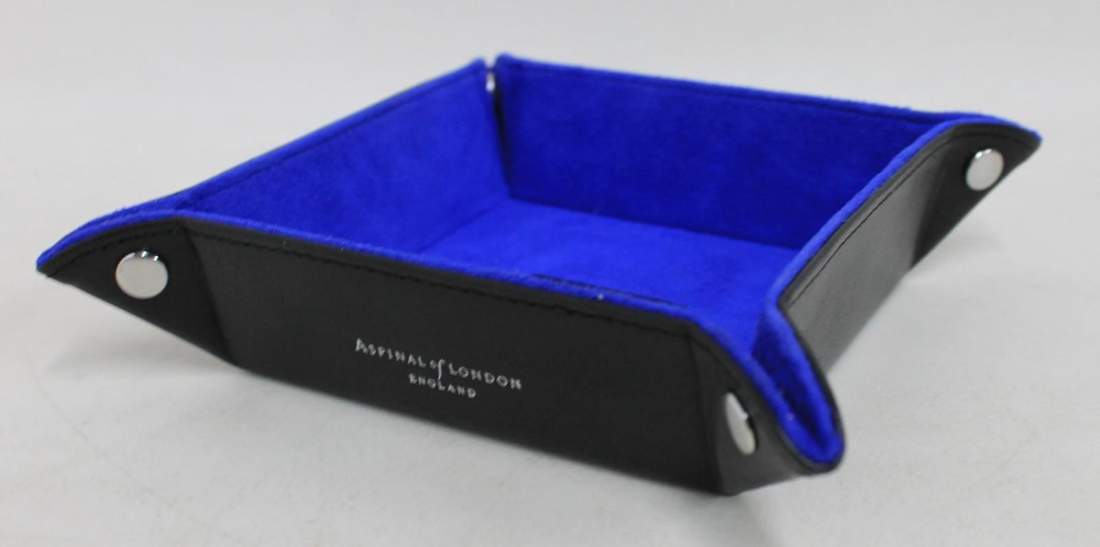 ASPINAL-OF-LONDON-Mini-Tidy-Tray-Black-Leather-Trinket-Holder-Embossed-YRT