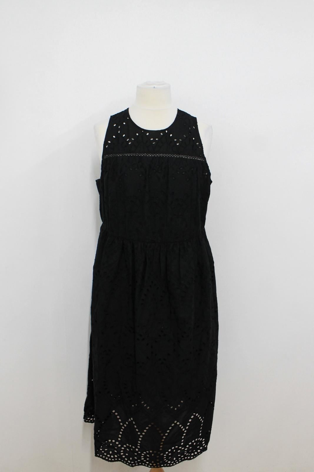 Embroidered Size M Bnwt Collection Sleeveless Dress Crochet amp;s Ladies Black Uk20 qYzY4w