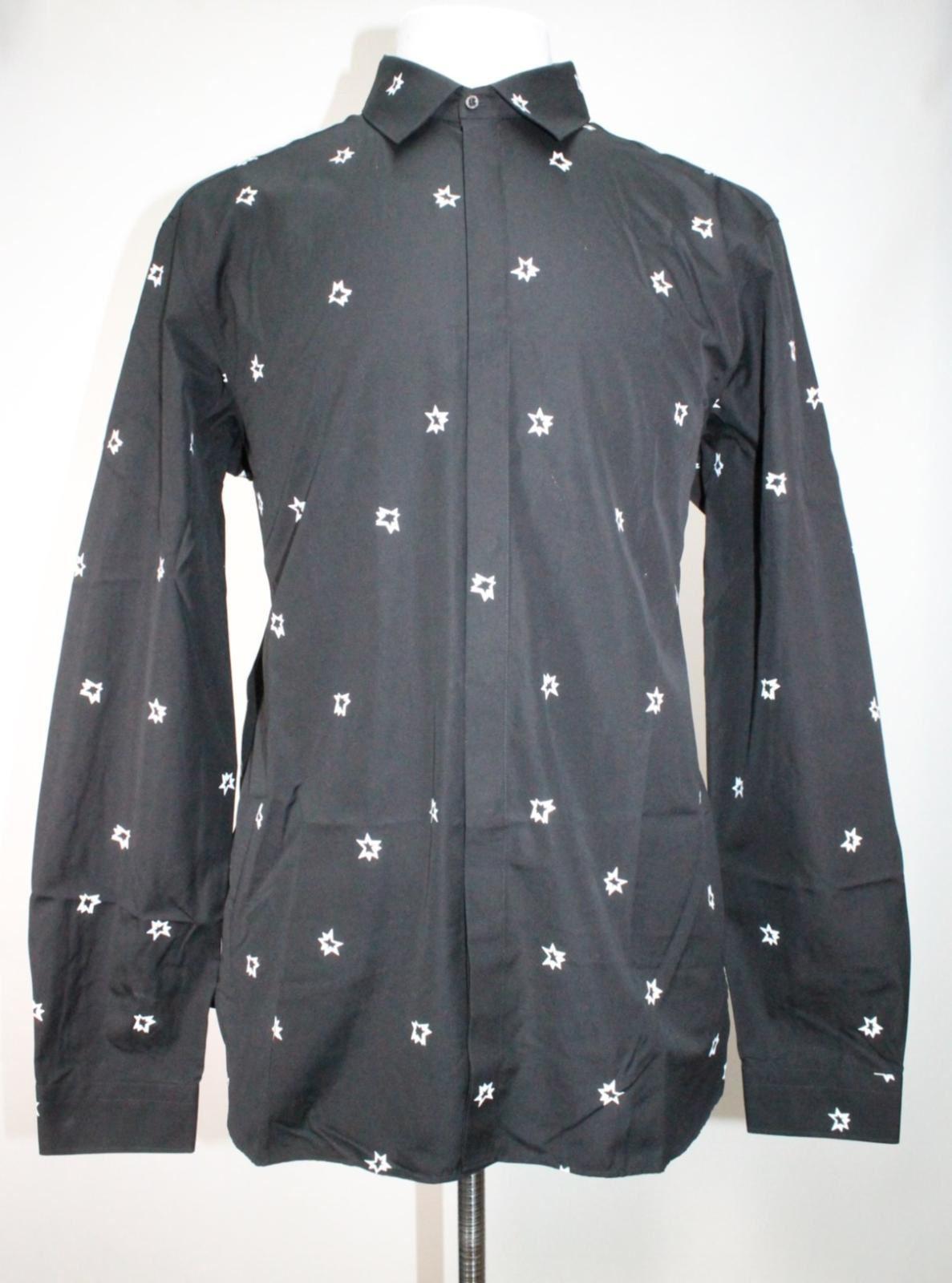 Neil-Barrett-Hombre-Negro-Algodon-Estampado-de-Estrellas-Calce-Ajustado-Camisa-Con-Cuello-16-5-034