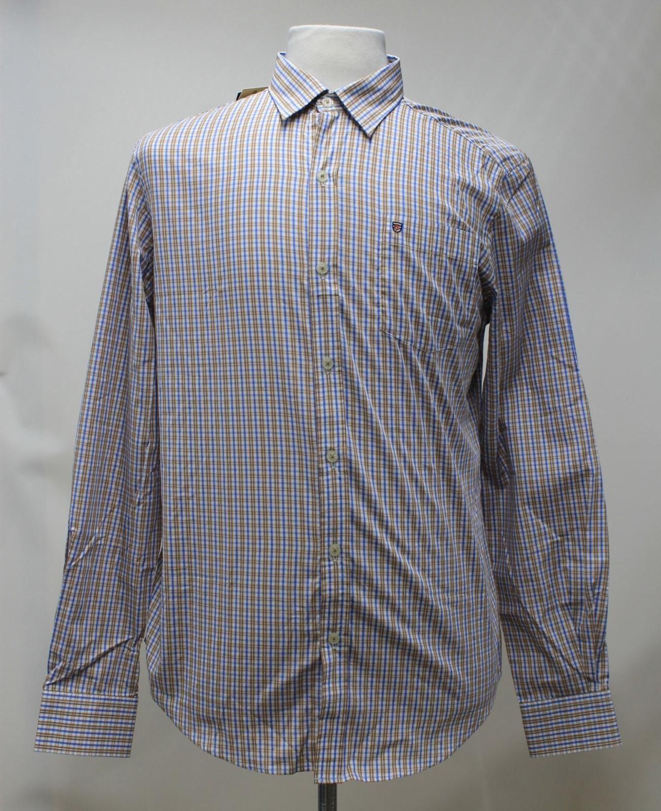 BNWT Dubarry Uomo Marronee Blu Cotone Check camicia con colletto ballincollig 2XL