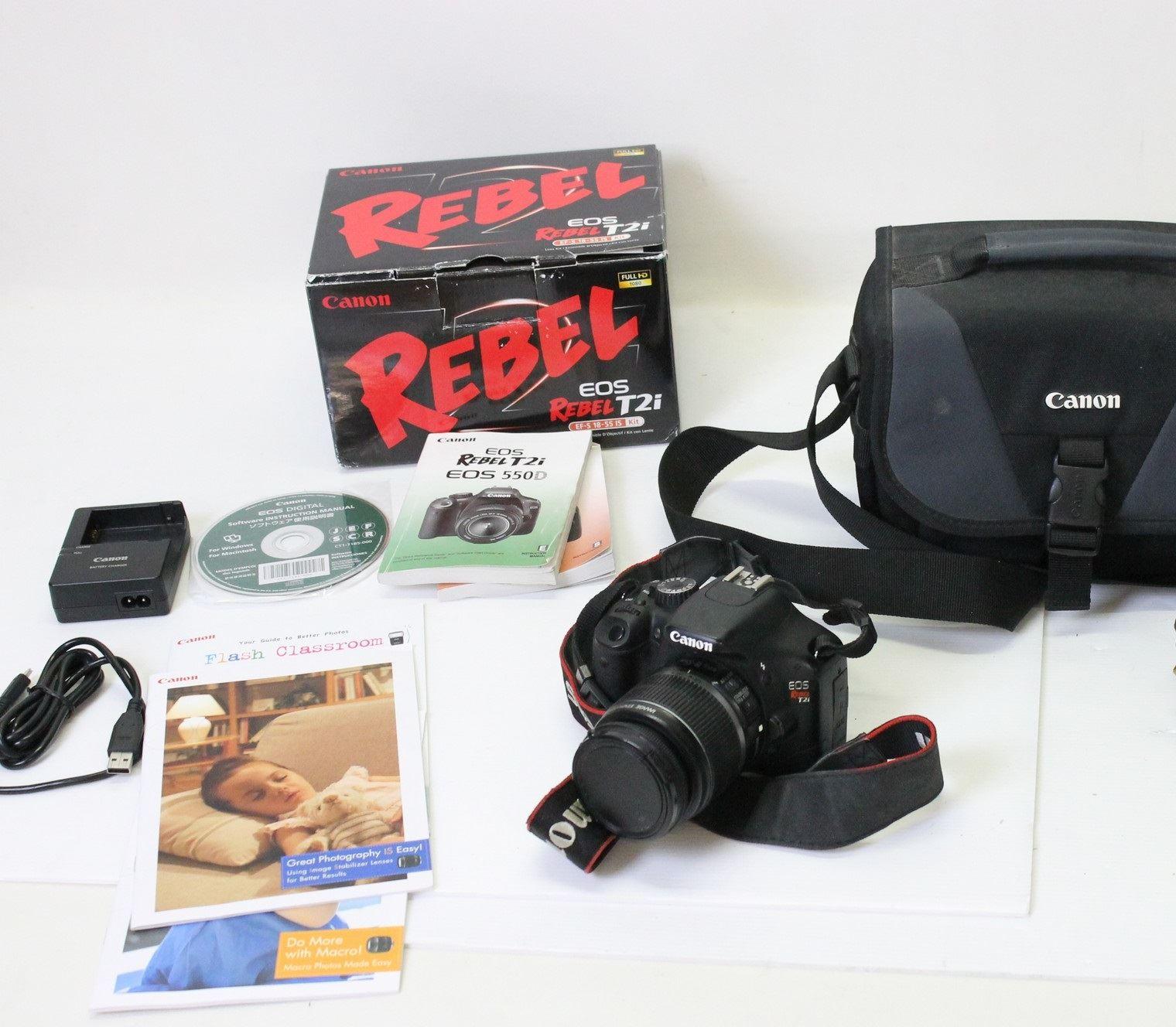 CANON EOS Rebel T2i (EOS 550D) Digital SLR Camera Zoom Lens EF-S 18-55MM & Case