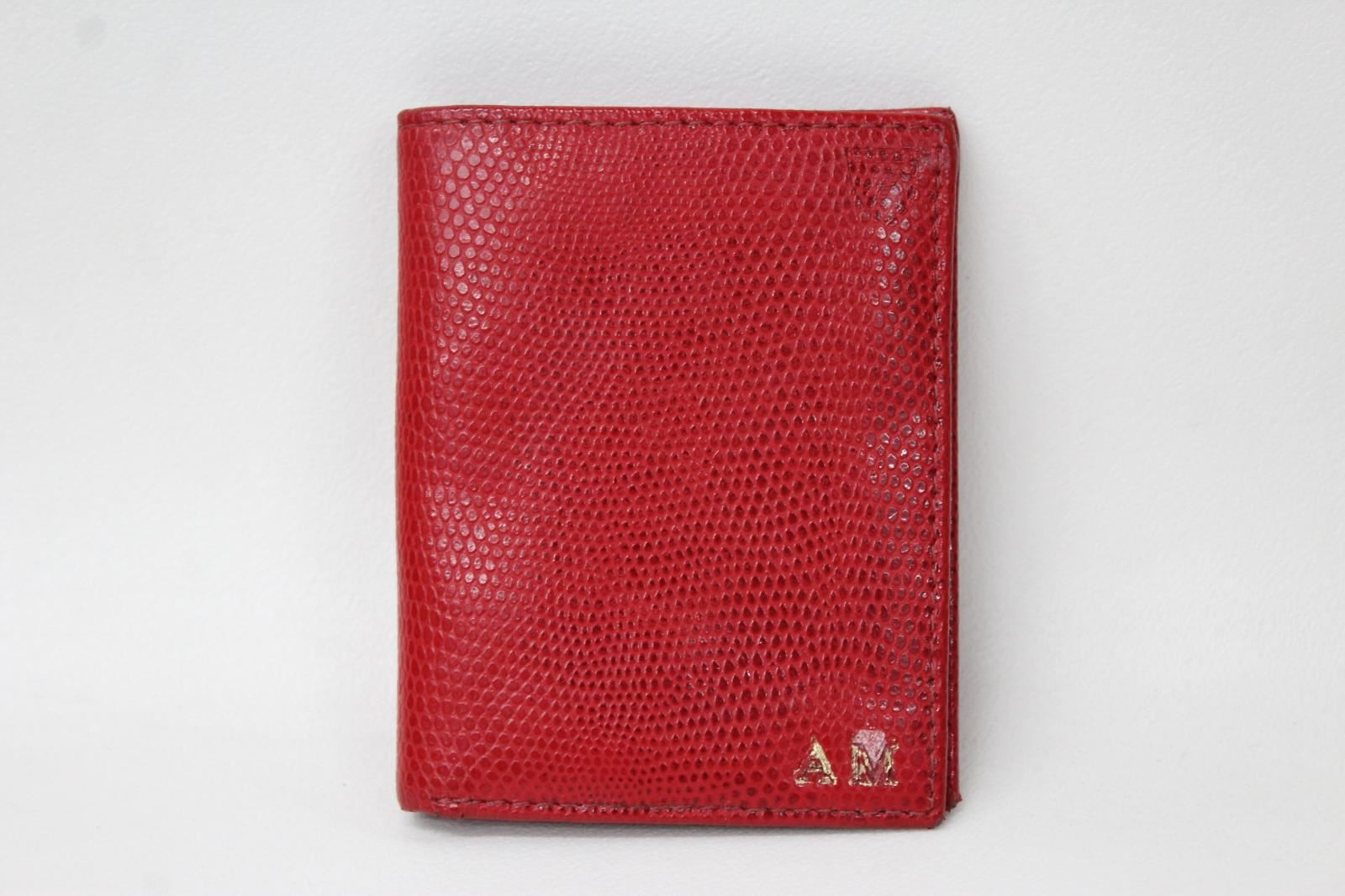 ASPINAL-OF-LONDON-Men-039-s-Red-Lizard-Print-Beige-Lining-Stamped-Wallet-NEW