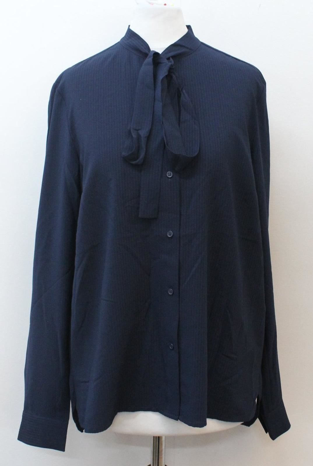 BNWT FRENCH CONNECTION Ladies Navy bluee Pinstripe Pussybow Blouse UK10 EU38