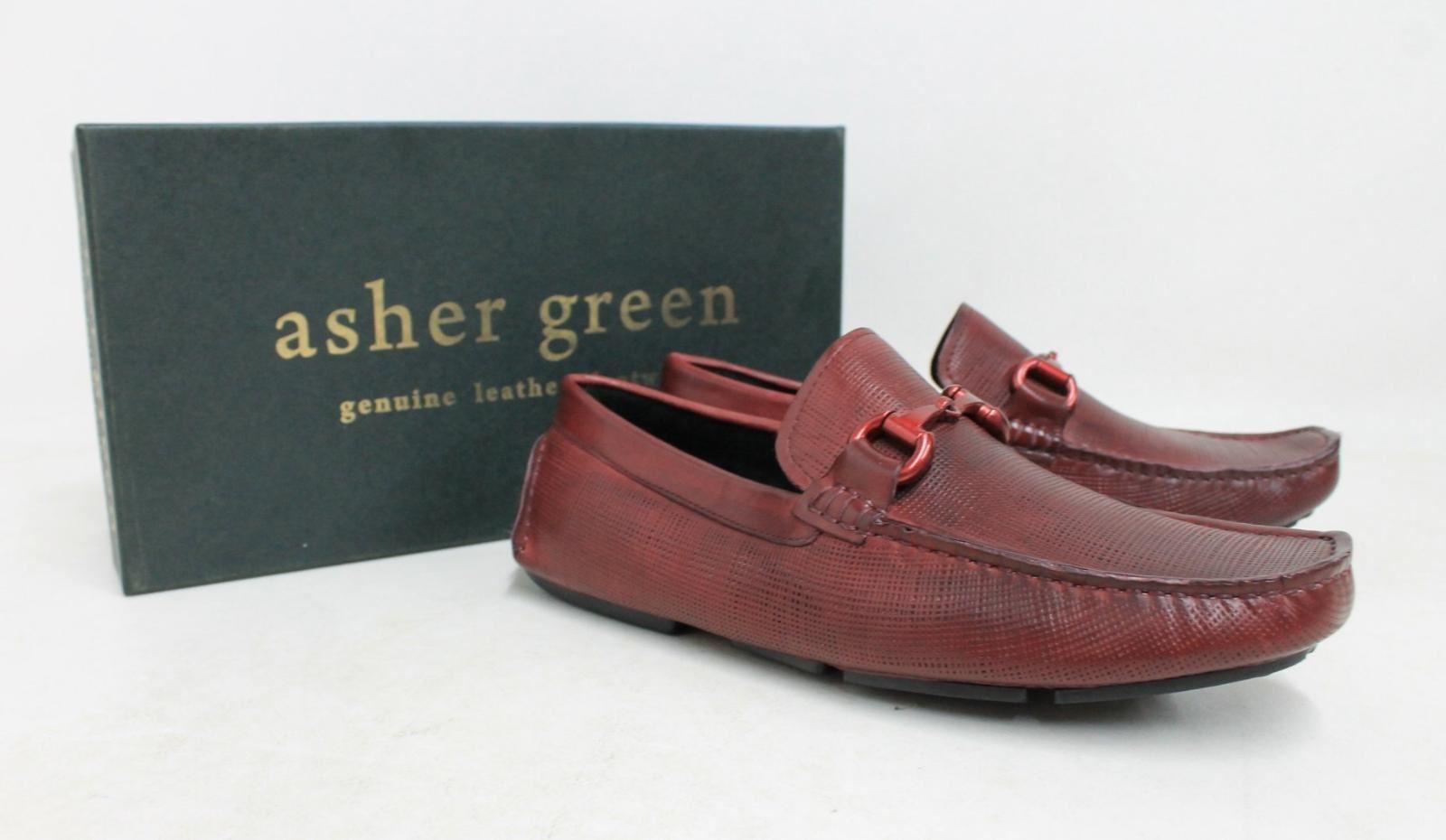 Asher-Verde-Uomo-Rosso-Bordeaux-in-Pelle-GUCCI-Mocassino-Tg-UK-8-US9-NUOVO-CON-SCATOLA
