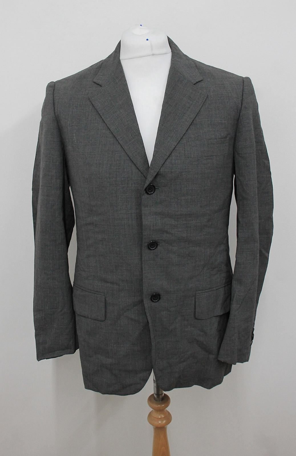 Prada Men's Light Grey Long Sleeved Single Breasted Suit Jacket It48 Uk38