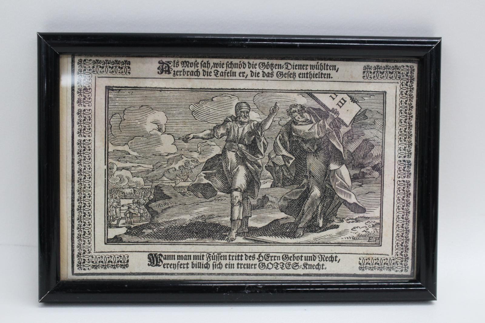 Antique-German-Woodblock-Print-17thC-Bible-Old-Testament-Moses-10-Commandments