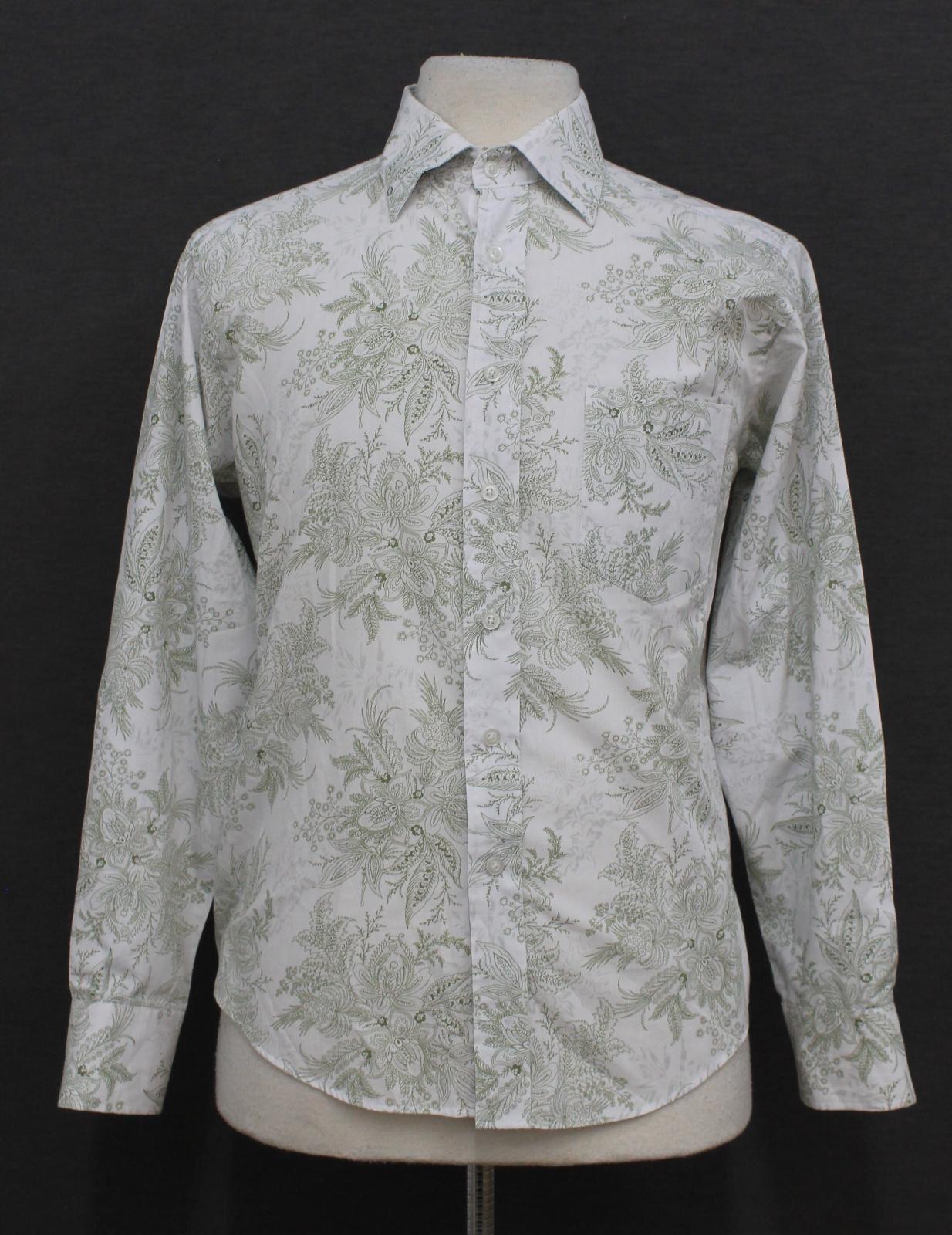 Paul-Smith-Para-Hombre-Blanco-Algodon-Con-Patron-Floral-Con-Cuello-Informal-Camisa-Talla-M