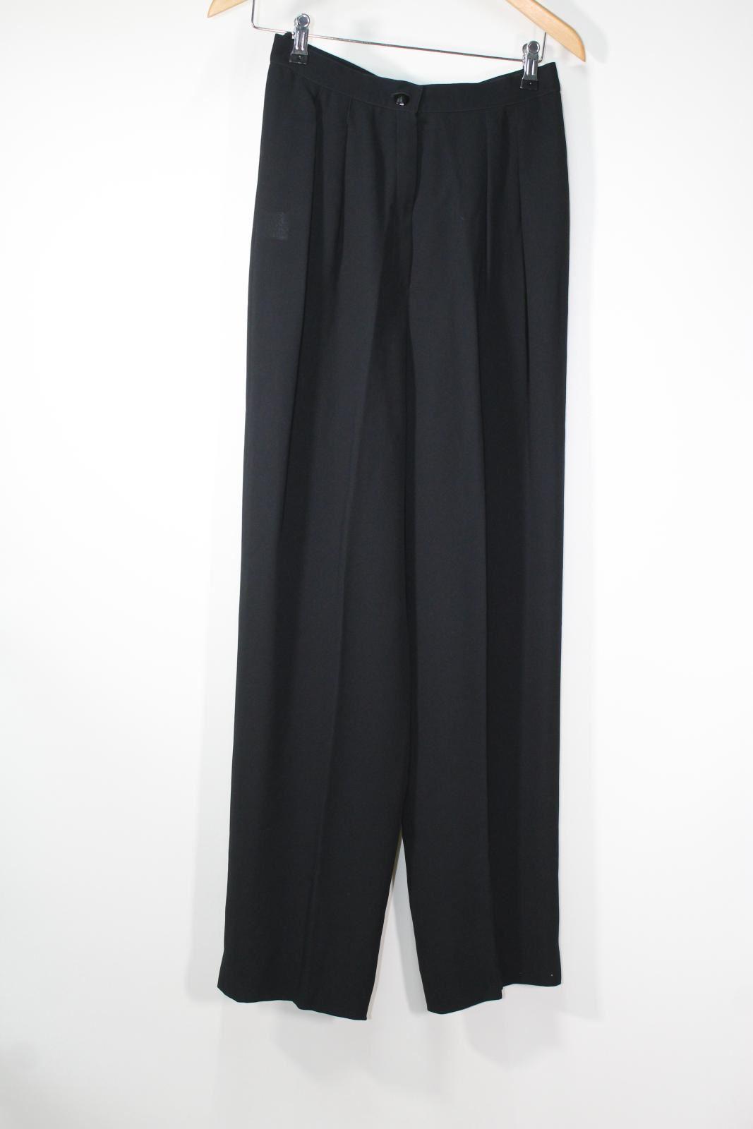 EMANUEL UNGARO Donna Nero Crepe di Seta Righe Con Pieghe Sul Davanti Pantaloni UK10 W27 L33 NUOVO CON ETICHETTA