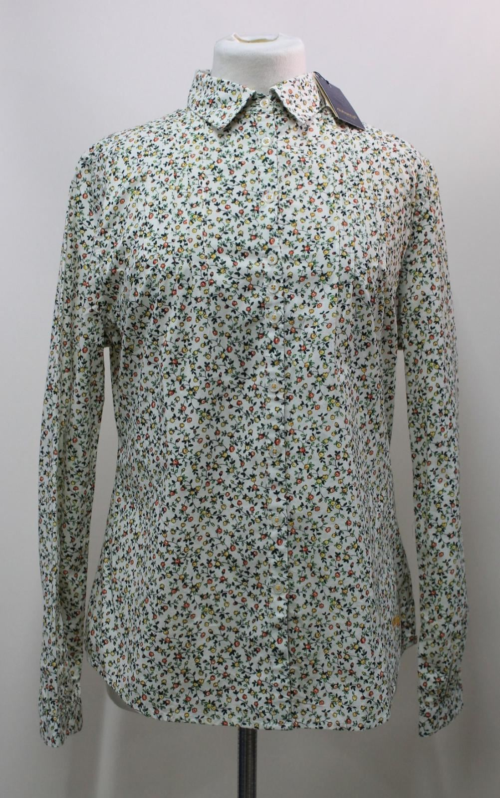 BNWT-DUBARRY-Ladies-White-Cotton-Floral-Pattern-Long-Sleeved-Shirt-Size-UK8