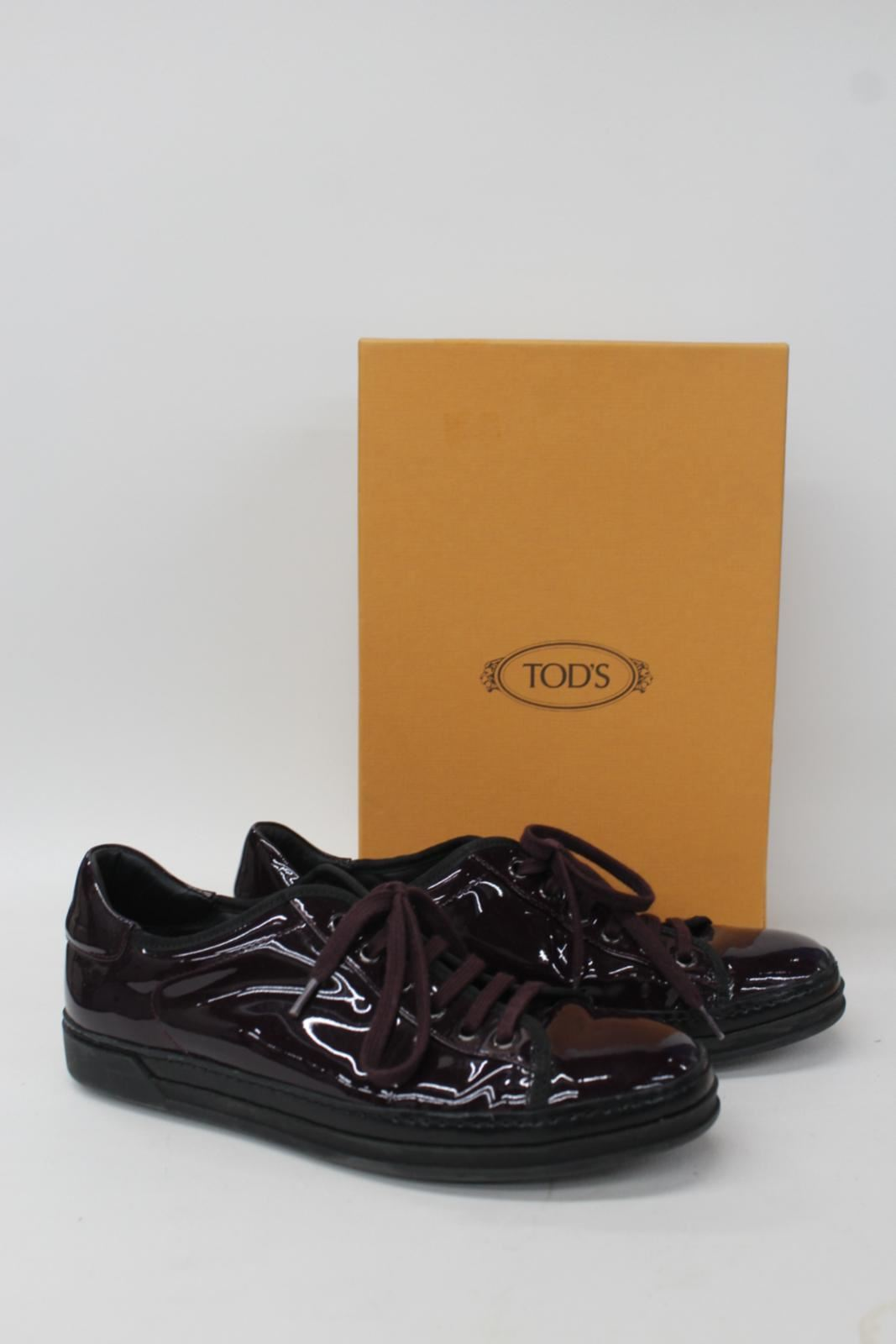 TOD'S Ladies Aubergine Purple Patent Leather Lace Up Trainers shoes UK5 EU38