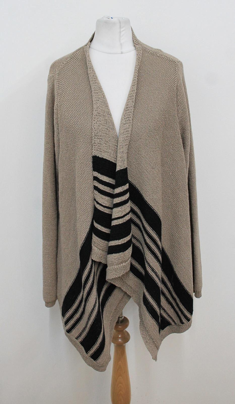 LAURA-ASHLEY-Ladies-Sand-Beige-Black-Striped-Waterfall-Cardigan-Size-UK14