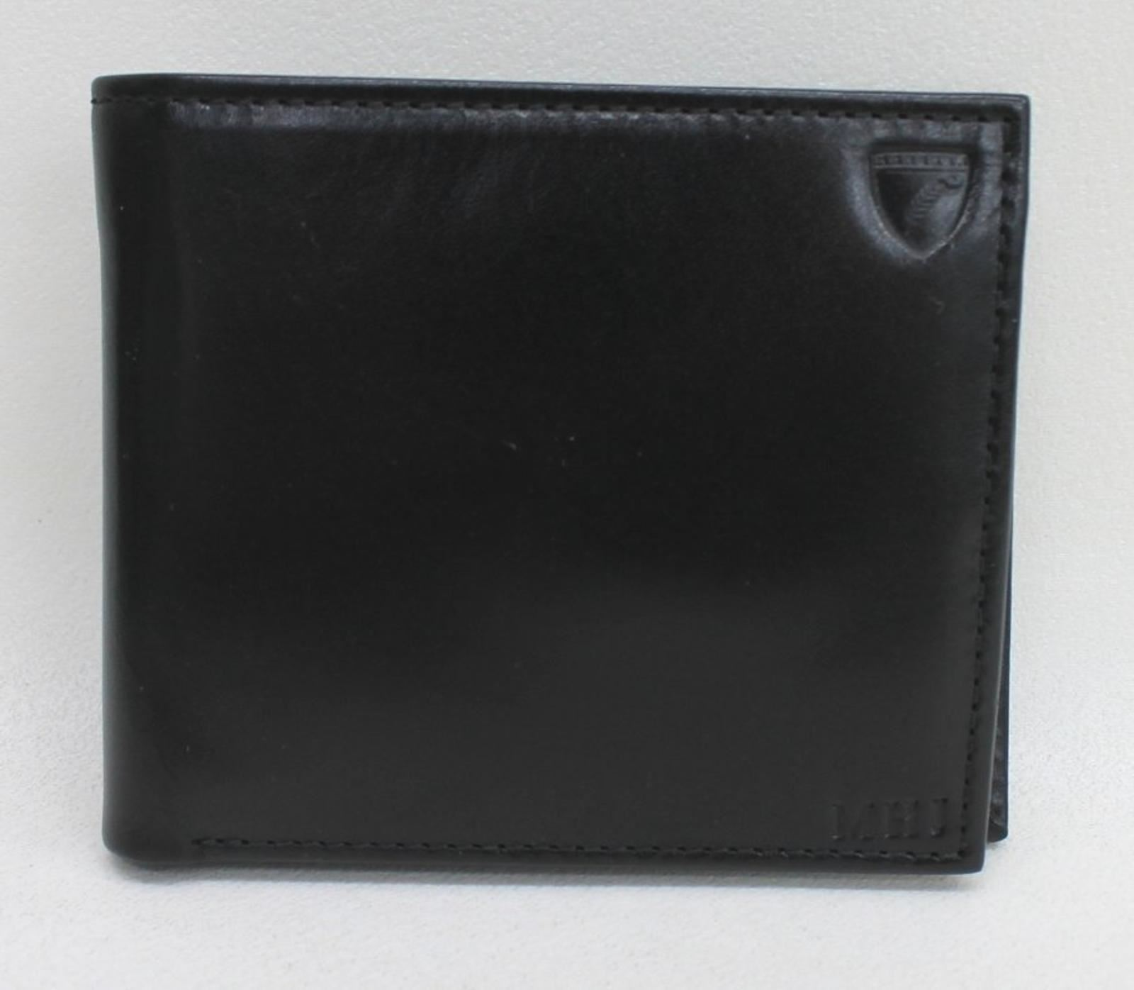 Aspinal Of London Men's Black Billfold Leather Coin Wallet Embossed Mhj New