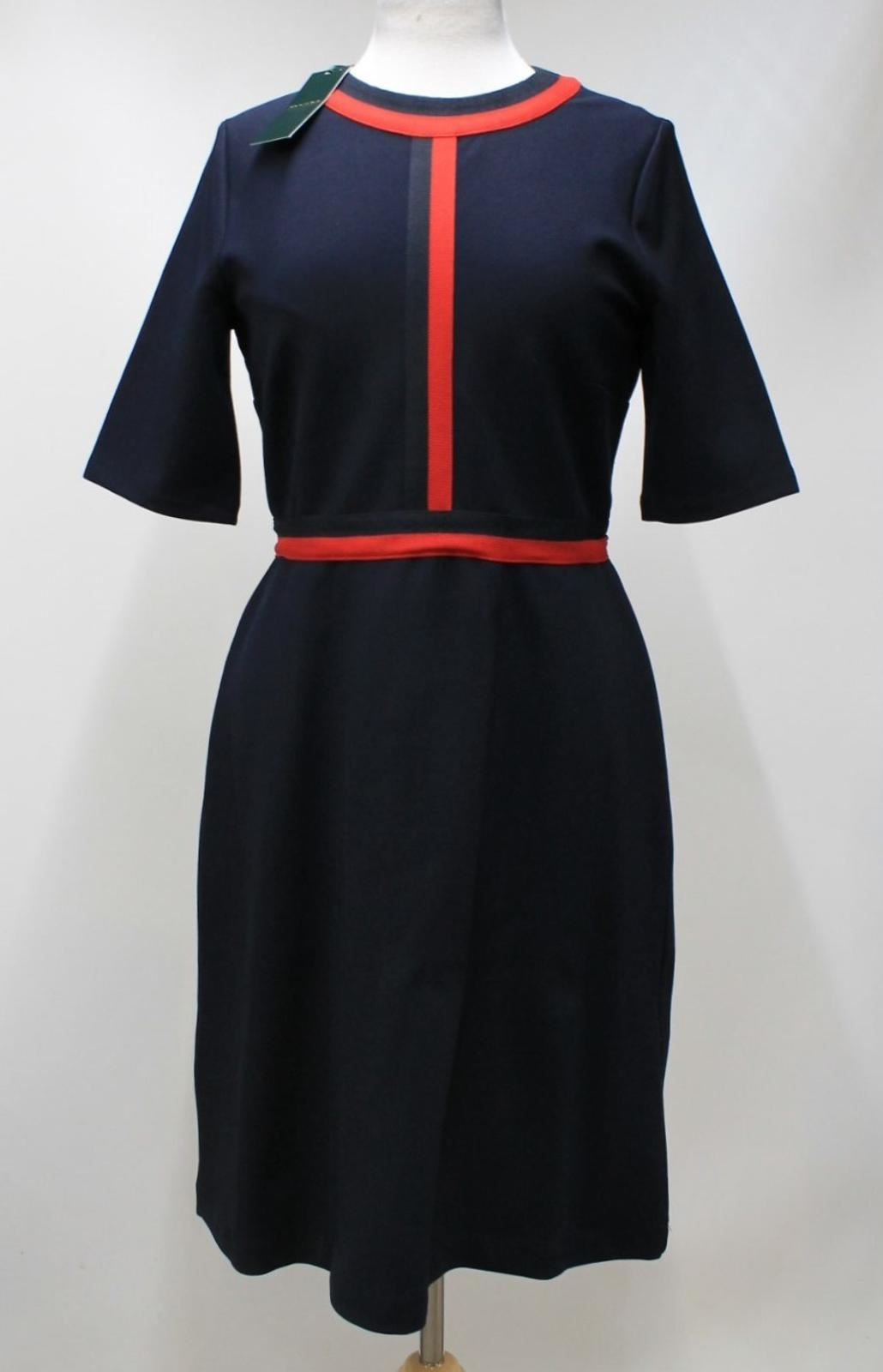 HOBBS-Ladies-Delia-Navy-Red-Stripe-Elbow-Sleeve-Crew-Neck-Shift-Dress-UK12-NEW