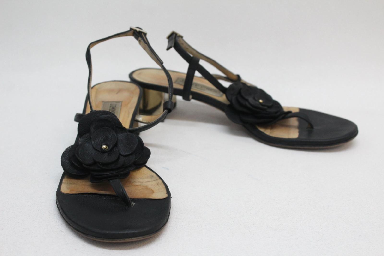 JIMMY CHOO Ladies Black Leather Floral T-Bar Sandal shoes Size UK5.5 EU38.5