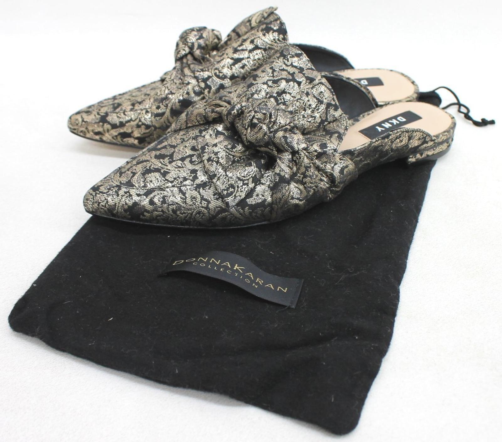 DKNY-Ladies-Black-Gold-Filigree-Bow-Detail-Slip-On-Mule-Flats-Shoes-UK4-5-EU37-5