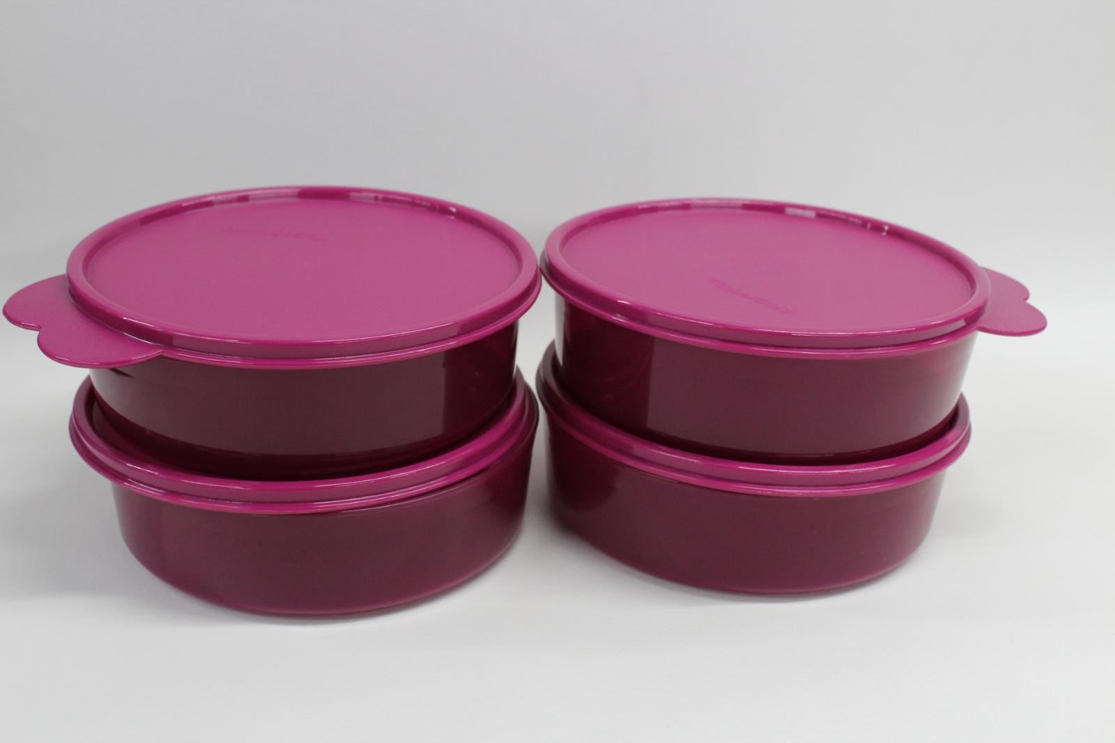 4x-NEW-TUPPERWARE-Big-Wonders-Bowl-2-Cup-Set-Of-4-Magenta-Colour-With-Seals