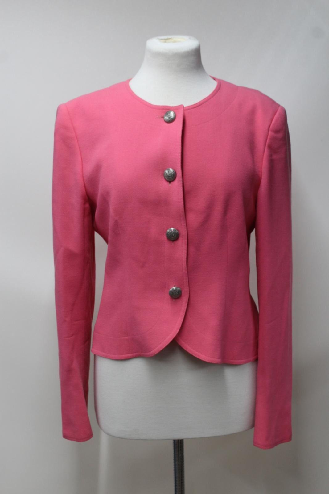 Uk12 Jacket Neck Scoop Pink Collarless Button Crew Up Wool Ladies Jaeger wzgIvv