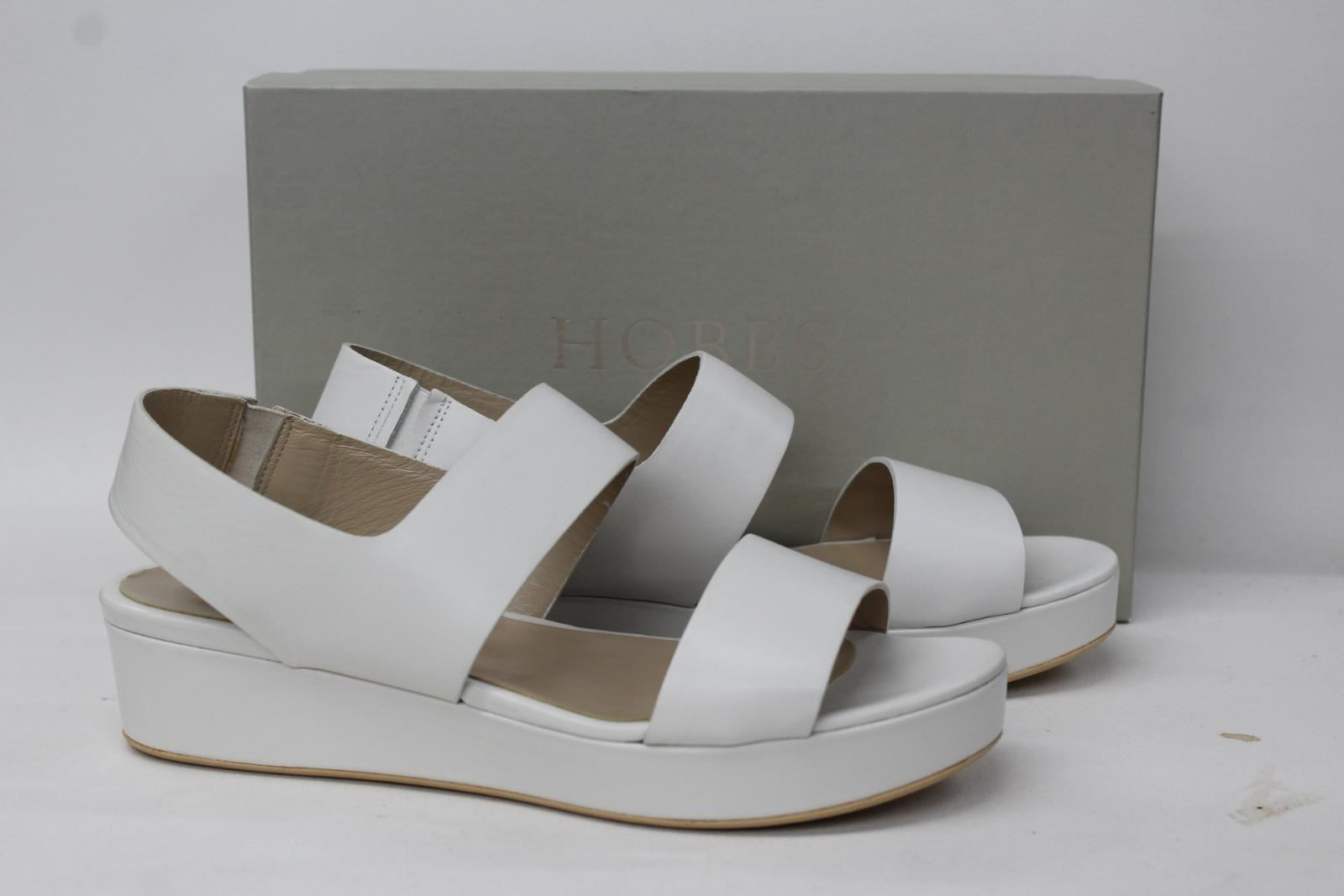 HOBBS-LONDON-Ladies-Bella-White-Leather-Flatform-Wedge-Sandals-EU39-UK6-NEW