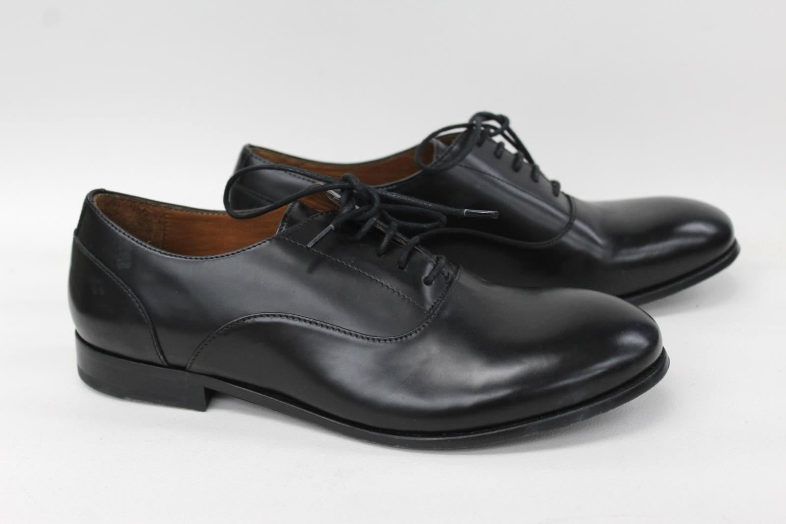 HOPE-Ladies-Black-Calf-Leather-Lace-Up-Round-Toe-Flat-Derby-Shoes-UK4-EU37