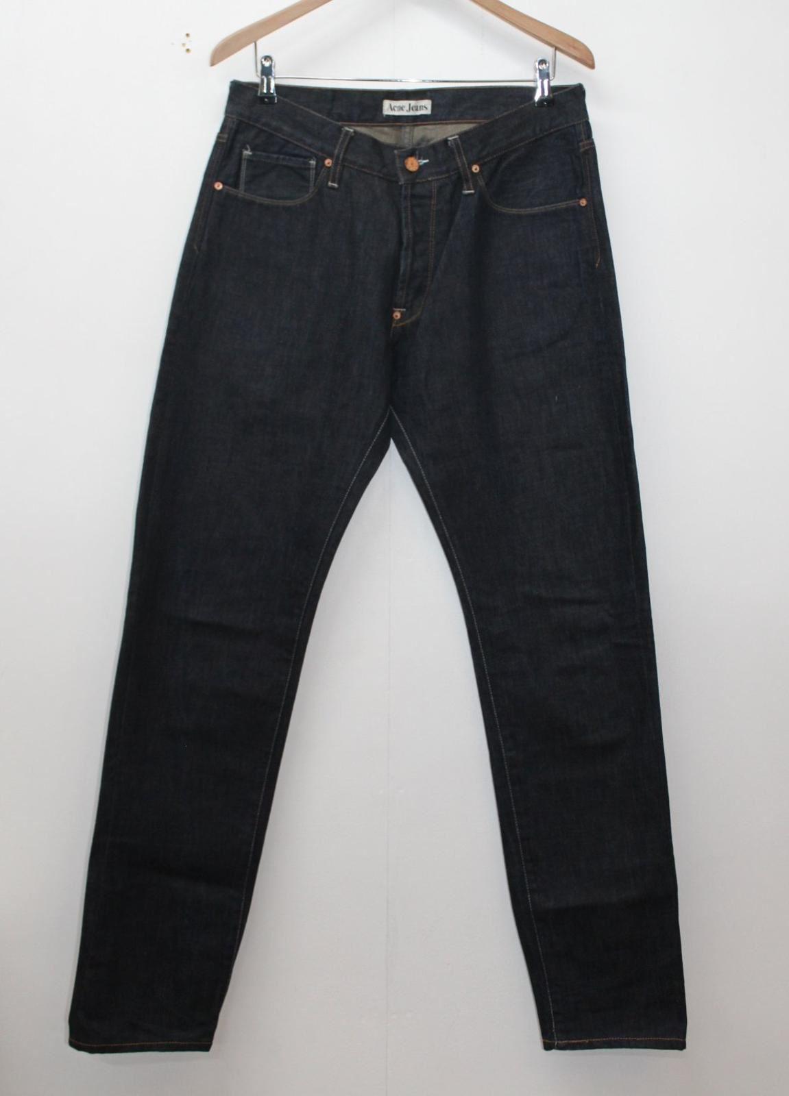 ACNE STUDIOS Men's Dark Blau Cotton Button Fly Straight Leg Jeans W33 L34