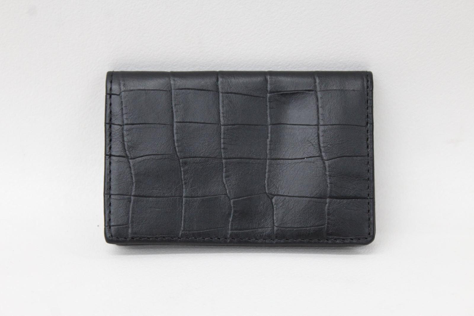 KIKI-JAMES-Men-039-s-Black-Croc-Embossed-Leather-Bifold-Card-amp-Coin-Wallet-NEW
