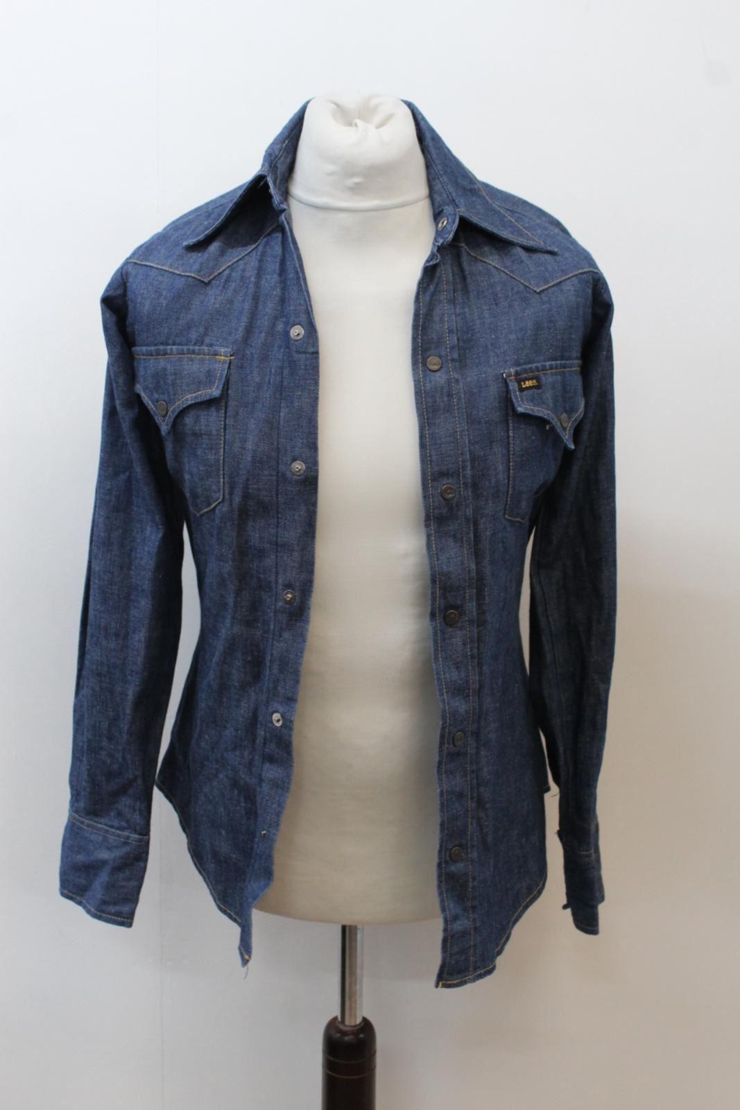 Lee-Jeans-de-hombre-Vintage-Denim-Azul-Algodon-con-Corchetes-Cierre-Mangas-Largas-Camisa-S