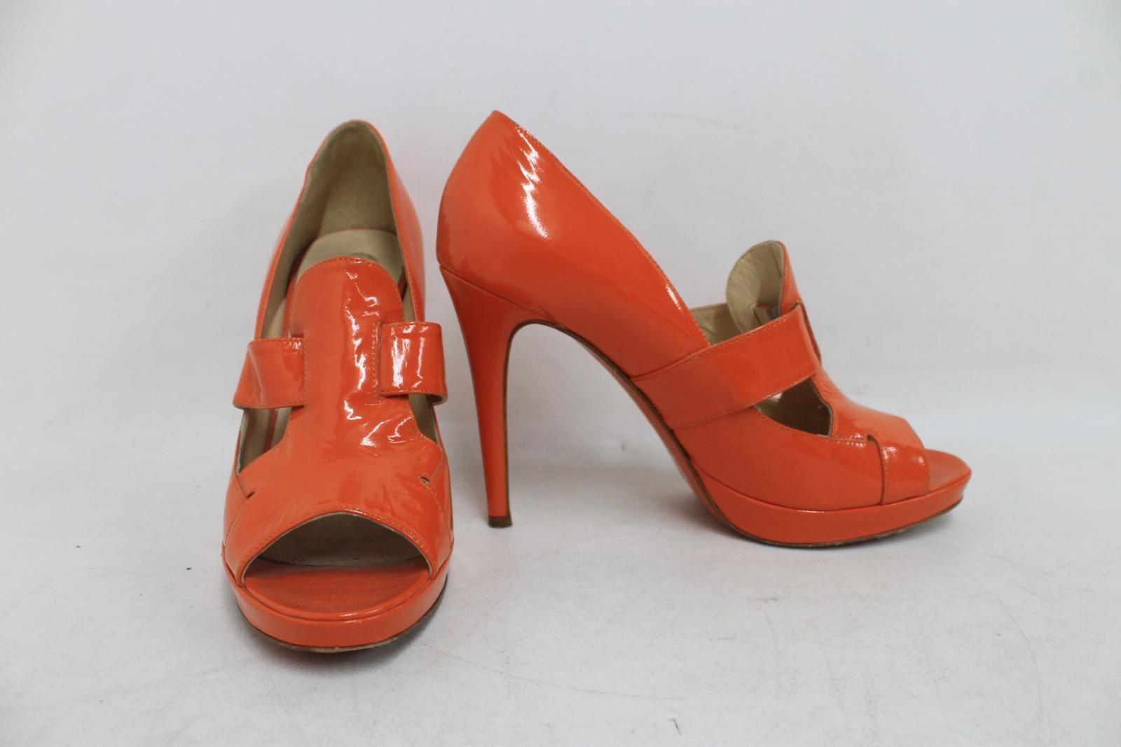 VERSACE-Ladies-Orange-Patent-Leather-Peep-Toe-High-Heel-Mules-Shoes-UK6-EU39