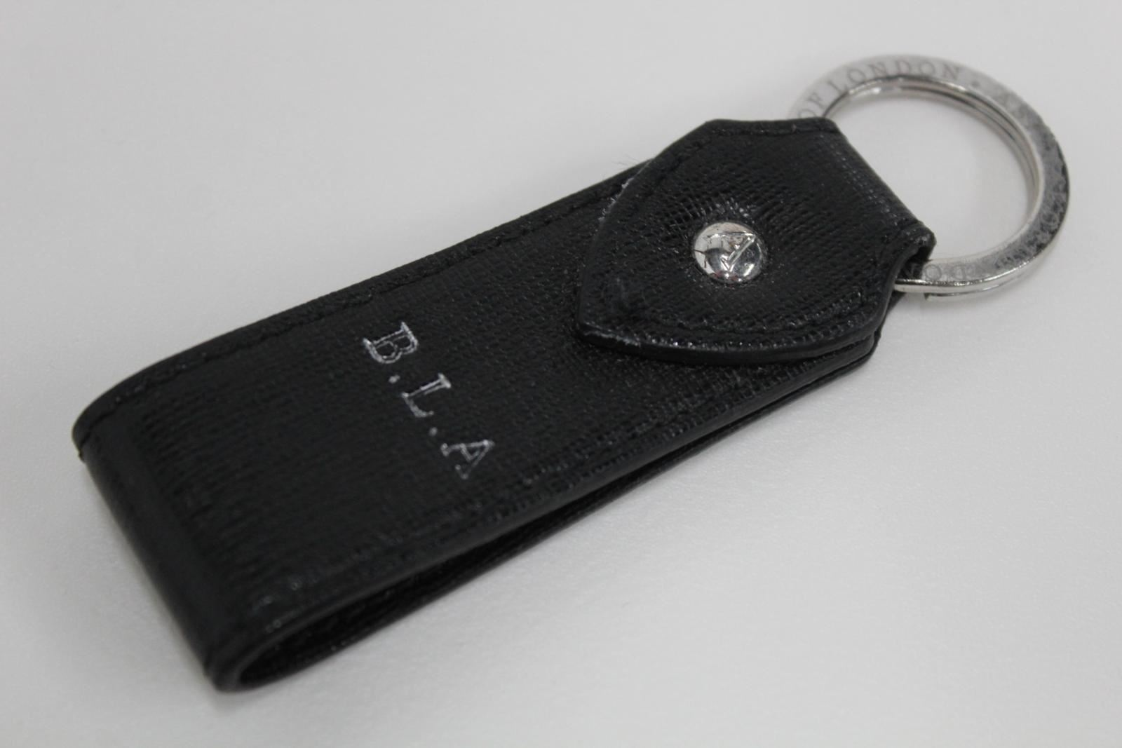 ASPINAL-OF-LONDON-Saffiano-Black-3-5-034-Leather-Silver-Initials-BLA-Keyring-NEW