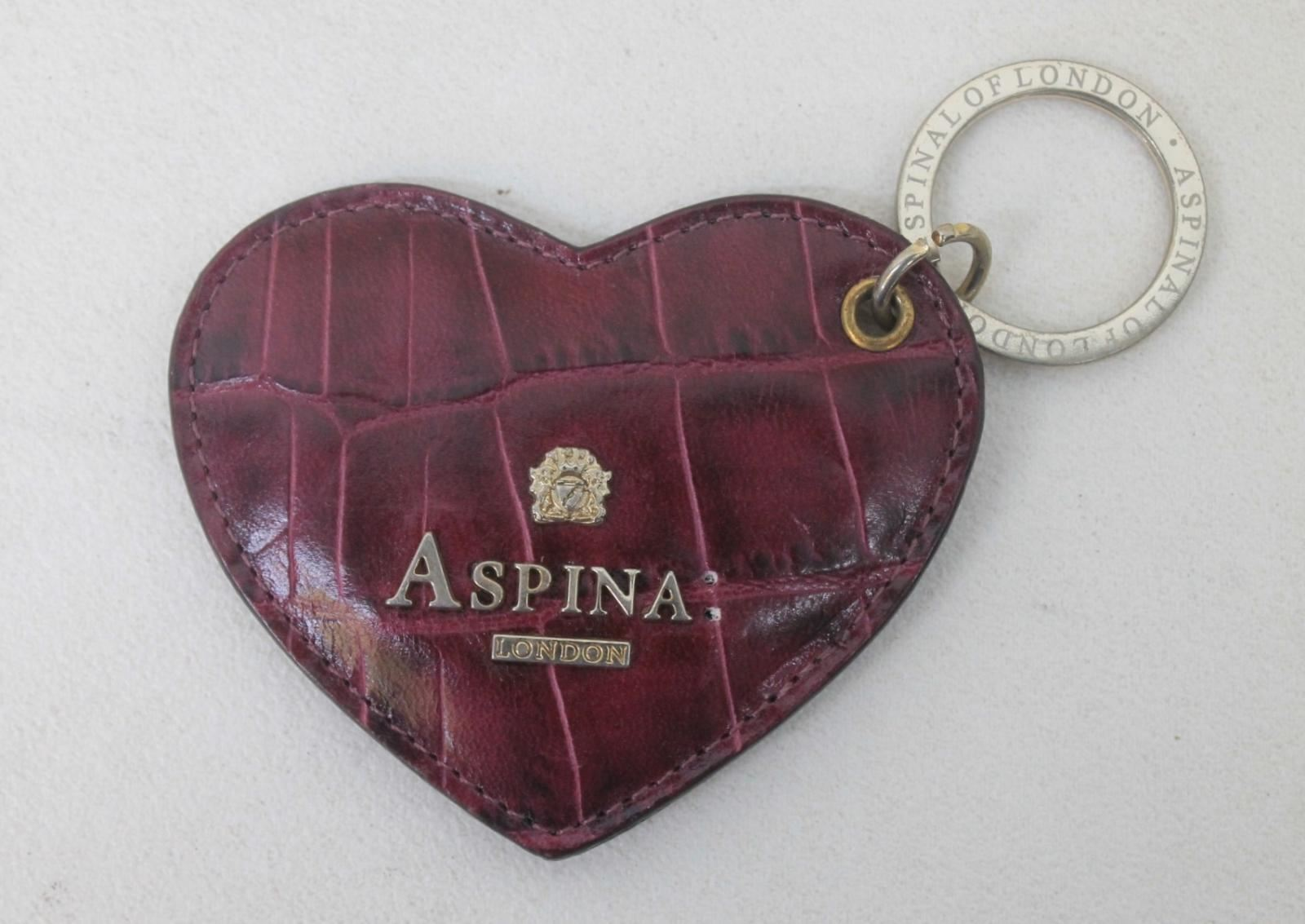 ASPINAL-OF-LONDON-Ladies-Berry-Croc-Print-Leather-Heart-Keyring-Bag-Charm-NEW