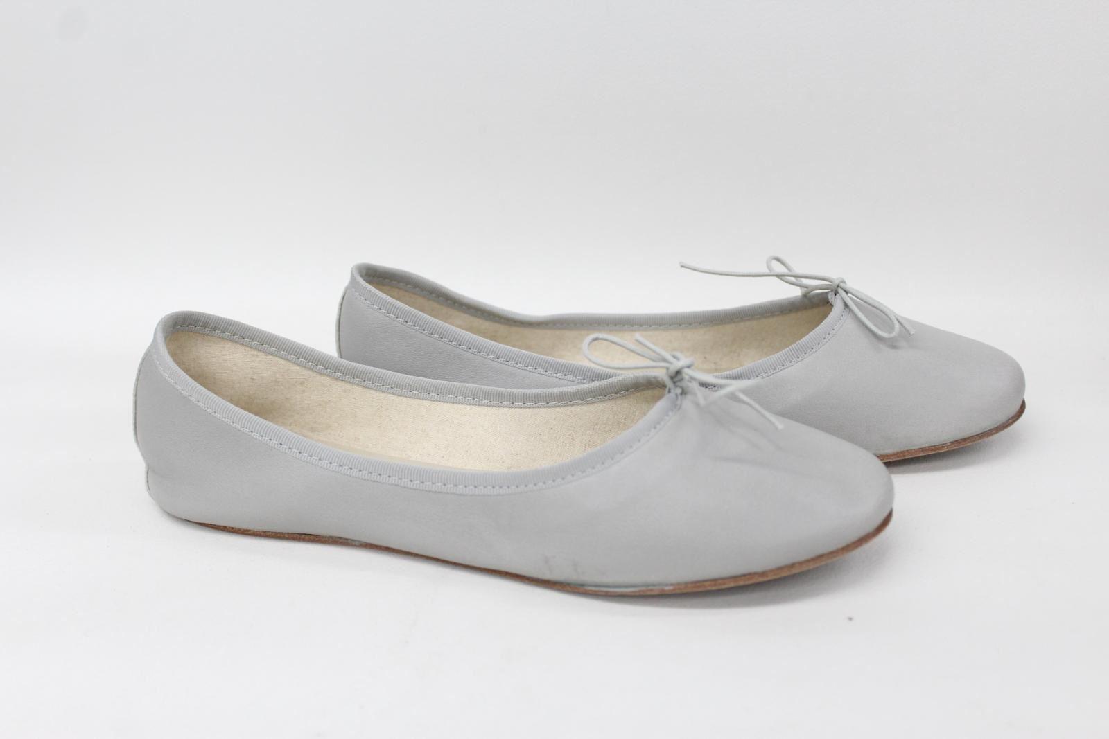 ANNIEL-Ladies-Grey-Leather-Flat-Round-Toe-Ballerina-Shoes-Pumps-UK6-5-EU41