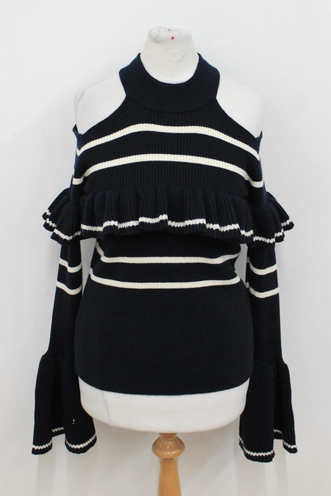 SELF PORTRAIT Ladies Navy Blau Weiß Stripe Frilled Cold Shoulder Knitted Top S