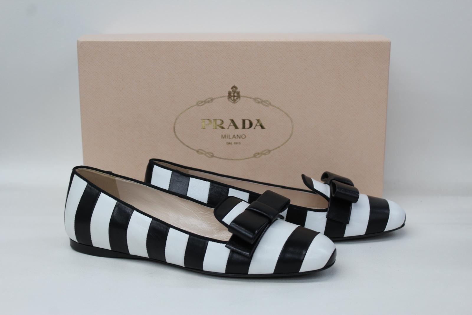 PRADA-Ladies-Black-amp-White-Leather-Bow-Detail-Flat-Slip-On-Shoes-UK3-5-EU36-BNIB