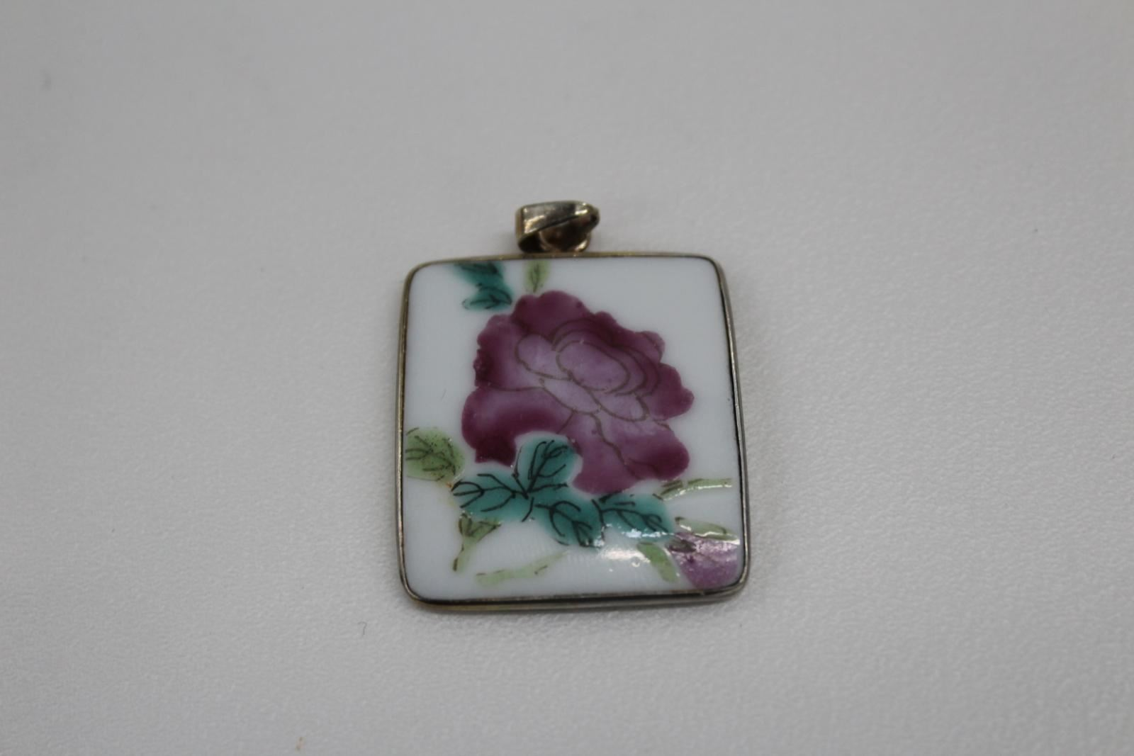 Vintage Ladies Floral Design Enamel & Silver Chinese Square Small Pendant
