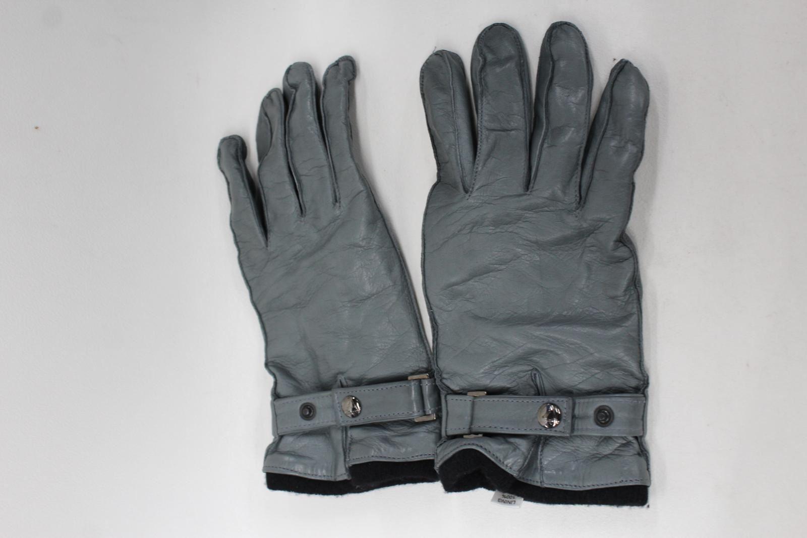 ASPINAL-OF-LONDON-Men-039-s-Grey-Leather-Cashmere-Adjustable-Wrist-Gloves-9-NEW