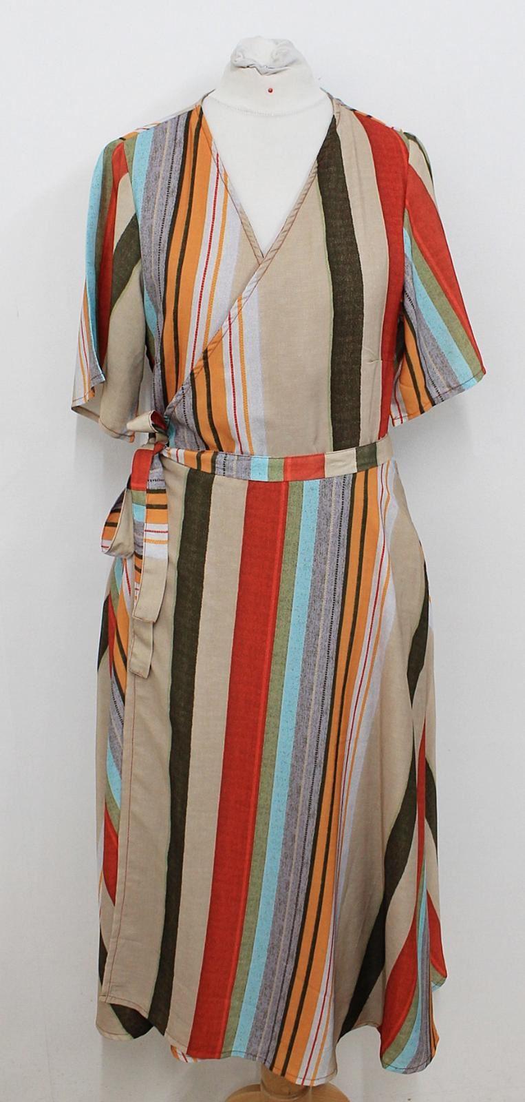 BNWT-ANTHROPOLOGIE-PORRIDGE-Ladies-Multi-coloured-Striped-Wrap-Around-Dress-XS